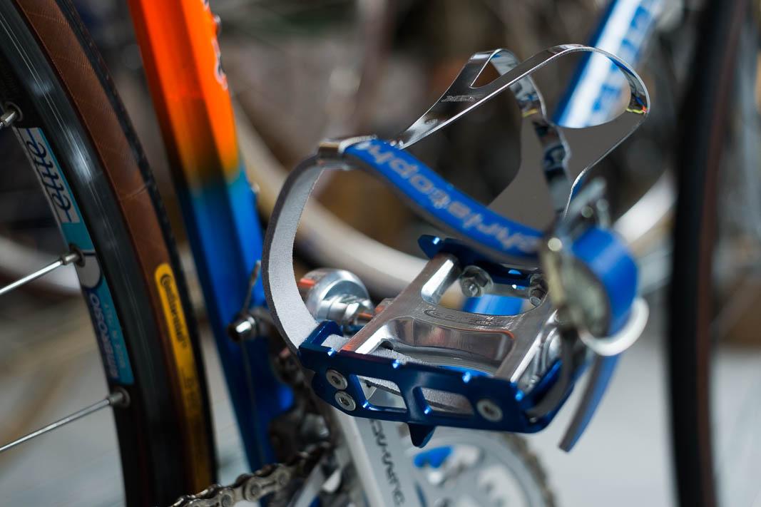 Zefal christophe Pedalriemen Rennrad Leder Straps blau braun weiss schwarz rot !